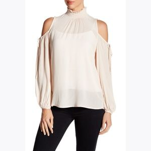 Anthro RO & DE Blush Cold Shoulder Blouse sz XS